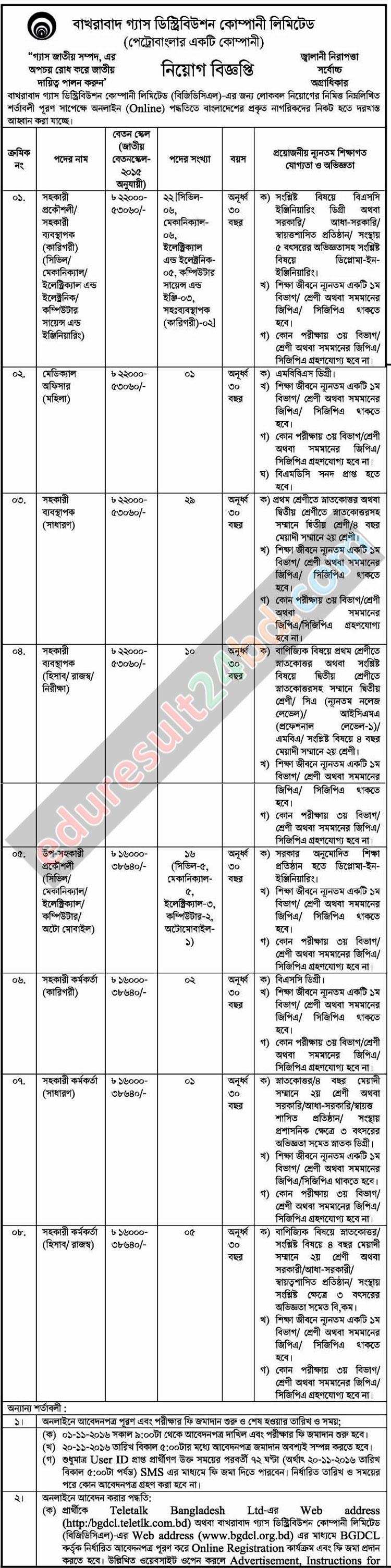 Bakhrabad Gas Distribution Company Job Circular